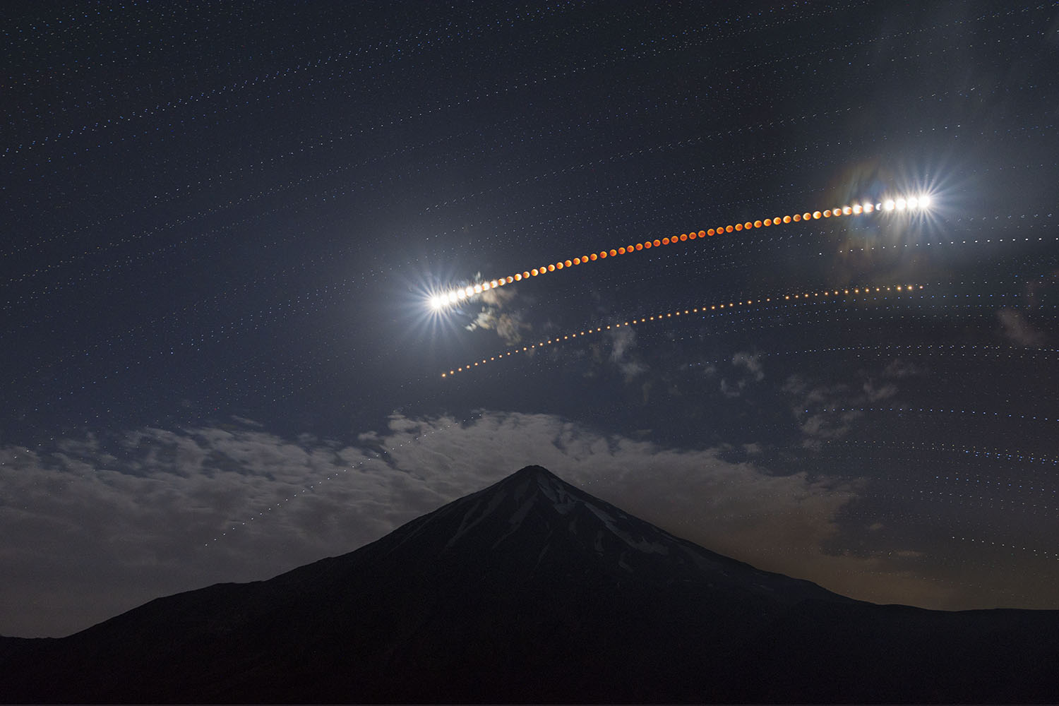 Lunar Eclipse Over Mt.Damavand