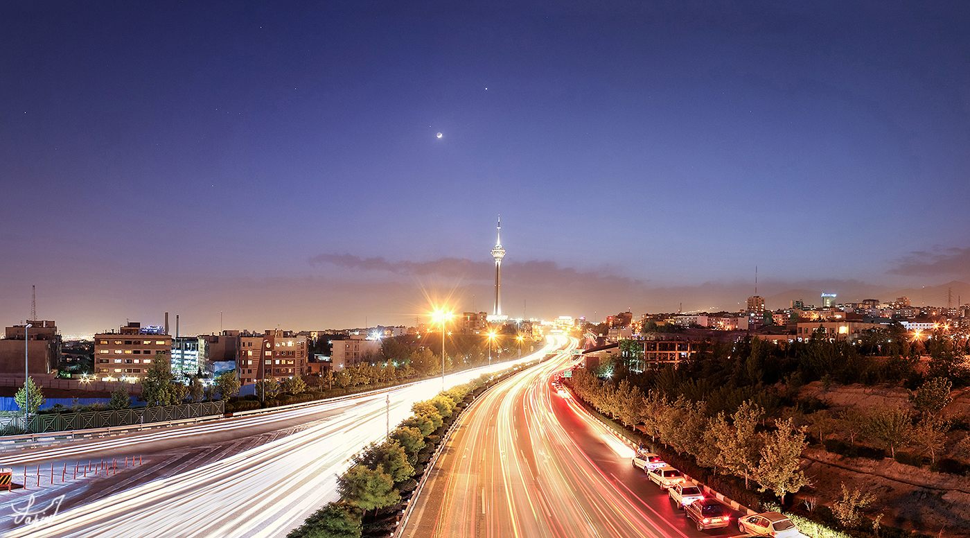 Moon & Venus Dancing Behind Milad Tower